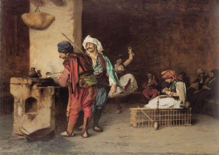 Gerome, Jean Leon: A Cafe in Cairo. Fine Art Print/Poster. Sizes: A4/A3/A2/A1 (002857)